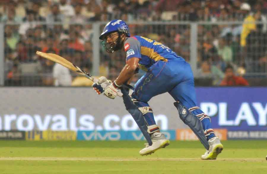 Rahul Tripathi Of Rajasthan Royals In Action During The Eliminator Match Of IPL 2018 Match Images
