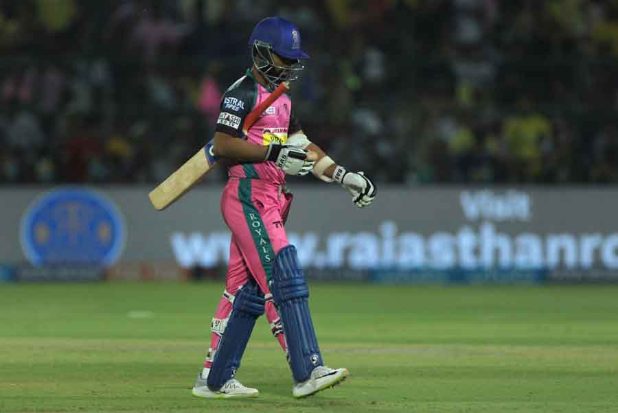 Rajasthan Royals Ajinkya Rahane Walks Back To Pavilion After Getting Dismissed During An IPL 2018 Im