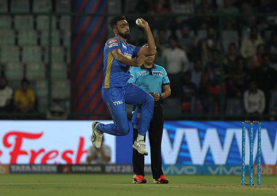 Rajasthan Royals Jaydev Unadkat In Action During An IPL 2018 Images