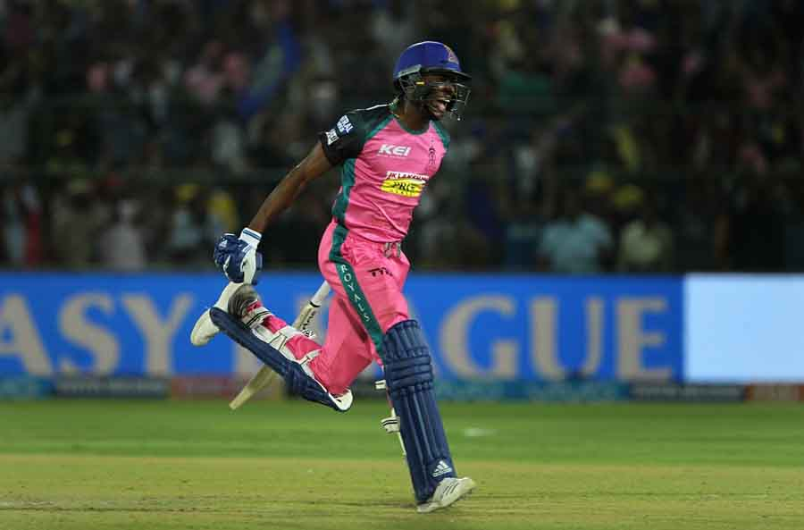 Rajasthan Royals Jofra Archer Celebrates After Winning An IPL 2018 Images