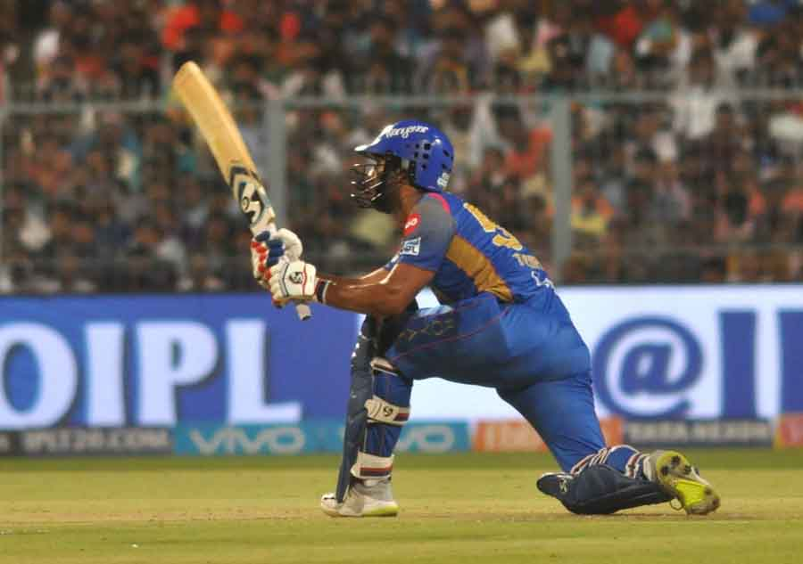 Rajasthan Royals Rahul Tripathi In Action During An IPL 2018 Match Images in Hindi