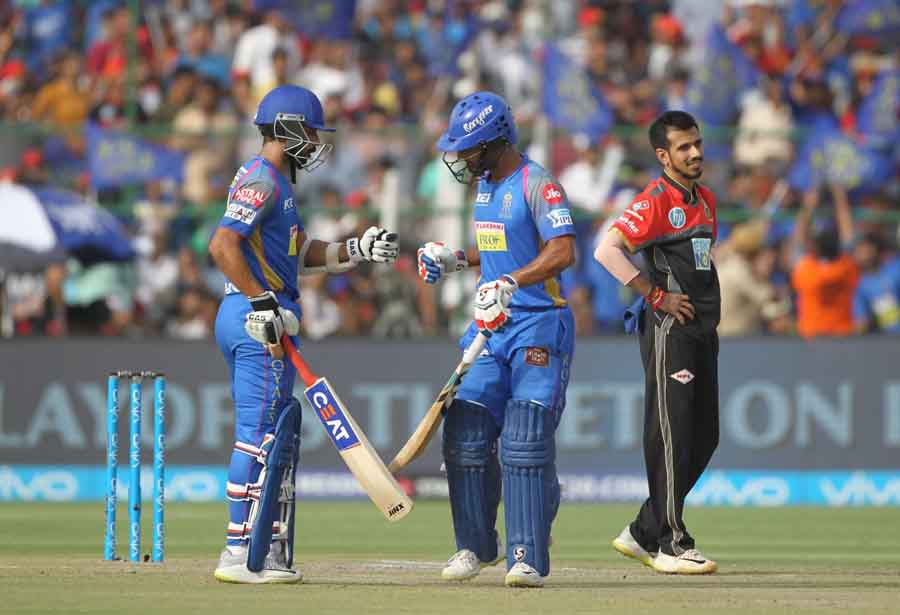 Rajasthan Royals Captain Ajinkya Rahane And Rahul Tripathi During An IPL 2018 Match Between Rajastha