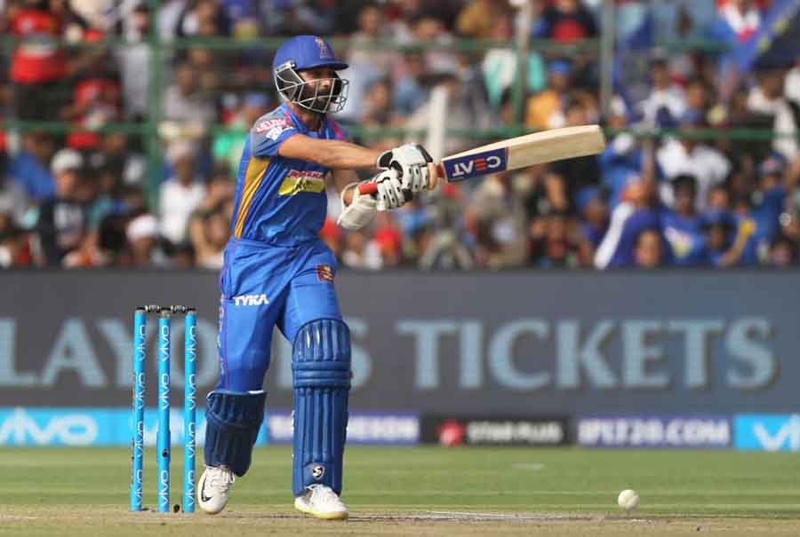 Rajasthan Royals Captain Ajinkya Rahane In Action During An IPL 2018 Match Between Rajasthan Royals