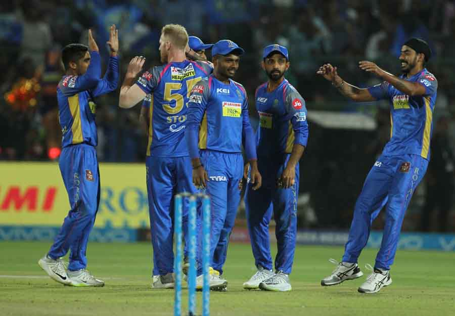 Rajasthan Royals Celebrate Fall Of Manoj Tiwarys Wicket During An IPL 2018 Images