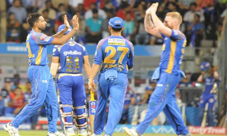 Rajasthan Royals Celebrate Fall Of A Wicket During An IPL 2018 Game Images