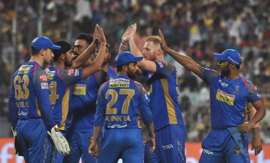 Rajasthan Royals Celebrate Fall Of A Wicket During An IPL 2018 Match Images