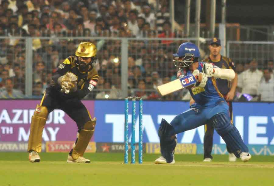 Rajasthan Royals Skipper Ajinkya Rahane In Action During The Eliminator Match Of IPL 2018 Match Imag