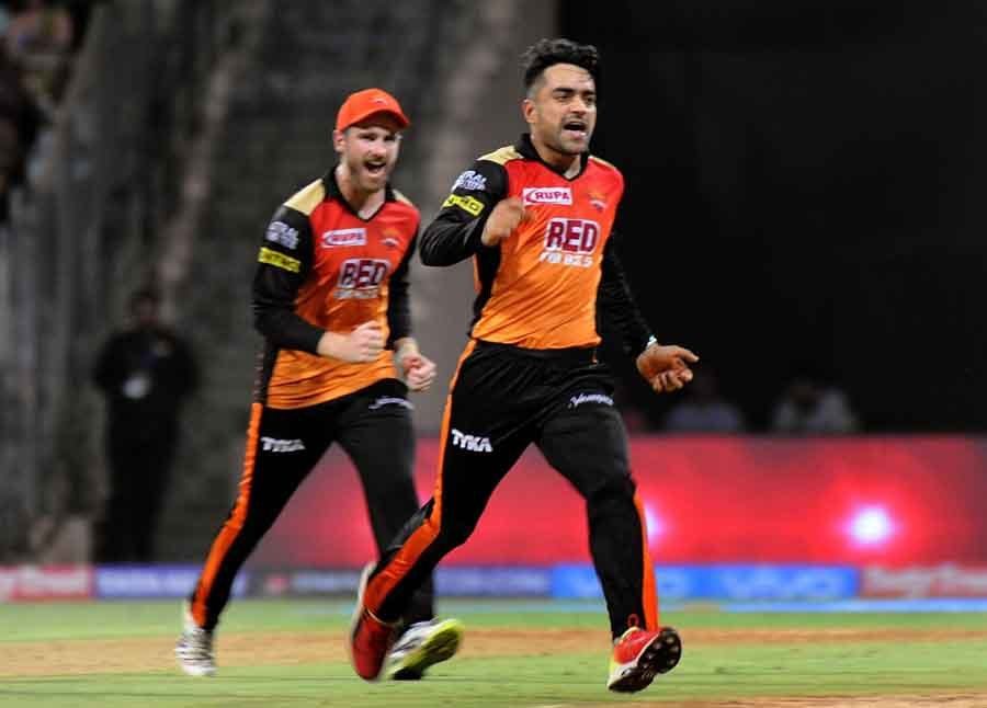 Rashid Khan Of Sunrisers Hyderabad Celebrates Fall Of MS Dhonis Wicket During The First Qualifier Ma