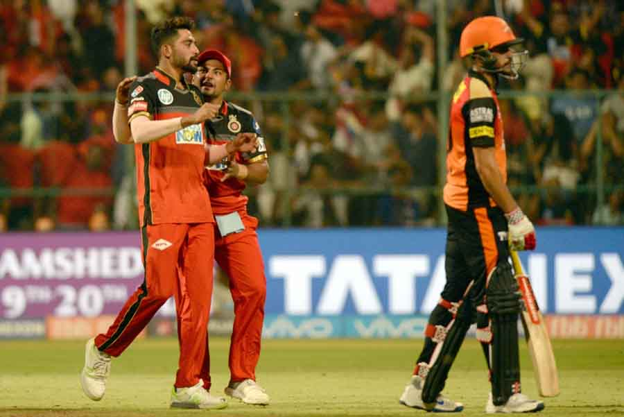 Royal Challengers Bangalore Players Celebrate After Winning An IPL 2018 Game Images
