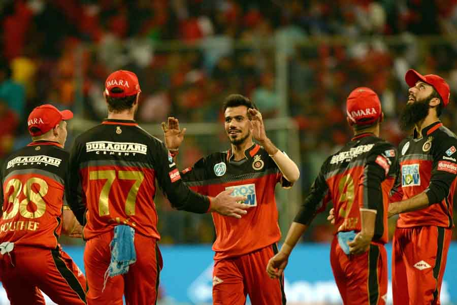 Royal Challengers Bangalore Players Celebrate After Winning An IPL Game 2018 Images
