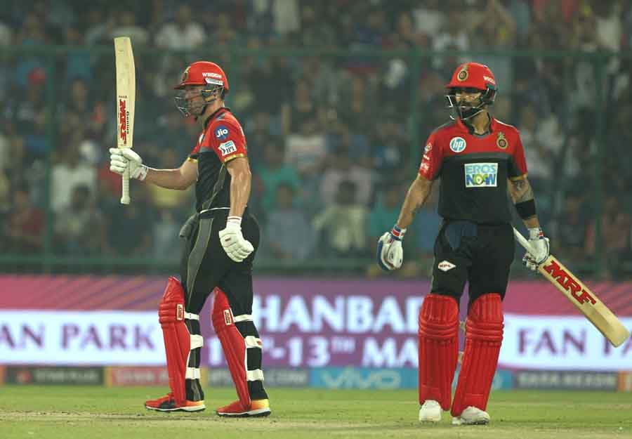 Royal Challengers Bangalores AB De Villiers Celebrates His Half Century During An IPL 2018 Images
