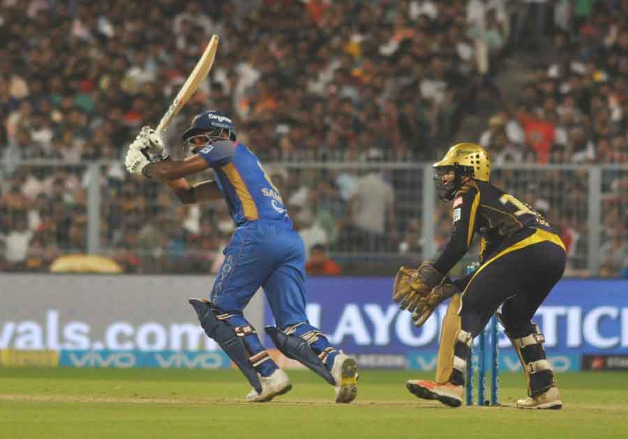 Sanju Samson Of Rajasthan Royals In Action During The Eliminator Match Of IPL 2018 Game Images in Hindi