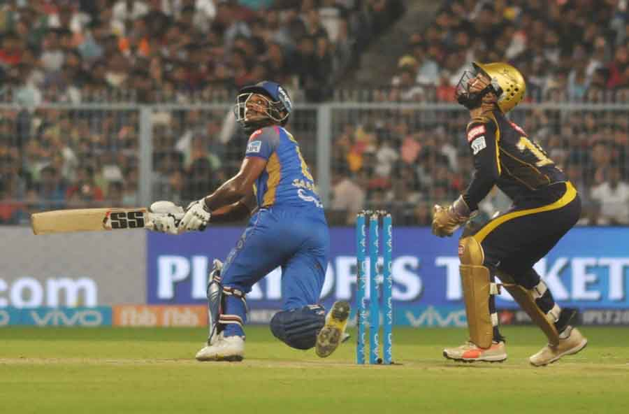 Sanju Samson Of Rajasthan Royals In Action During The Eliminator Match Of IPL Match 2018 Images in Hindi