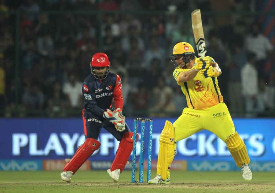 Shane Watson Of Chennai Super Kings In Action During An IPL 2018 Match Between Chennai Super Kings A in Hindi