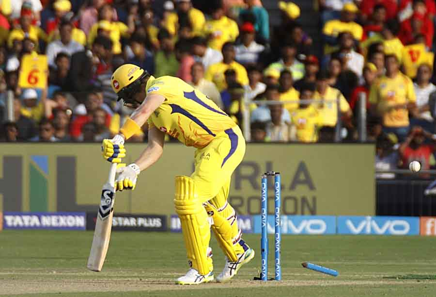 Shane Watson Of Bowled Out By Umesh Yadav During An IPL 2018 Images