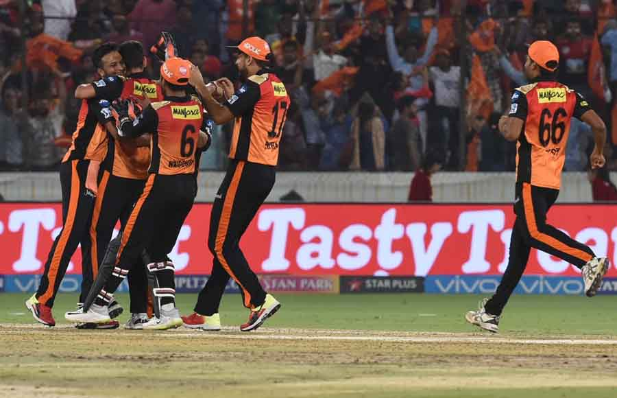 Sunrisers Hyderabad Celebrate After Winning An IPL 2018 Images