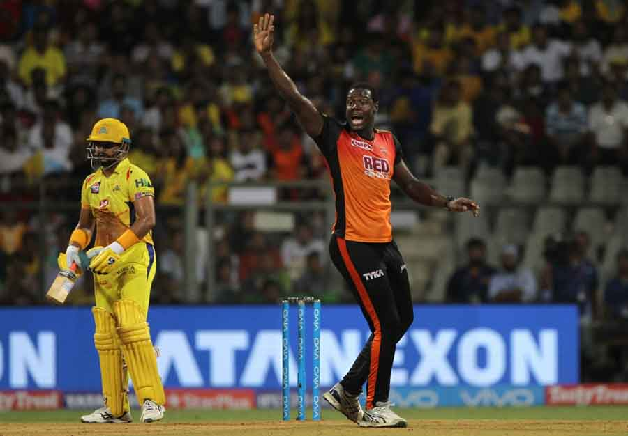 Sunrisers Hyderabads Carlos Brathwaite Celebrates Fall Of Suresh Rainas Wicket During The Final Matc