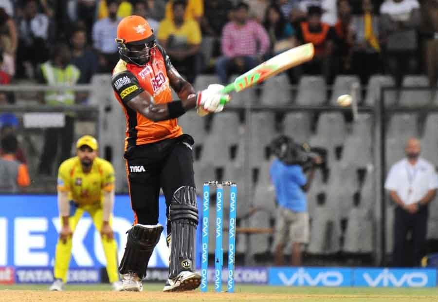 Sunrisers Hyderabads Carlos Brathwaite In Action During The First Qualifier Match Of IPL 2018 Match
