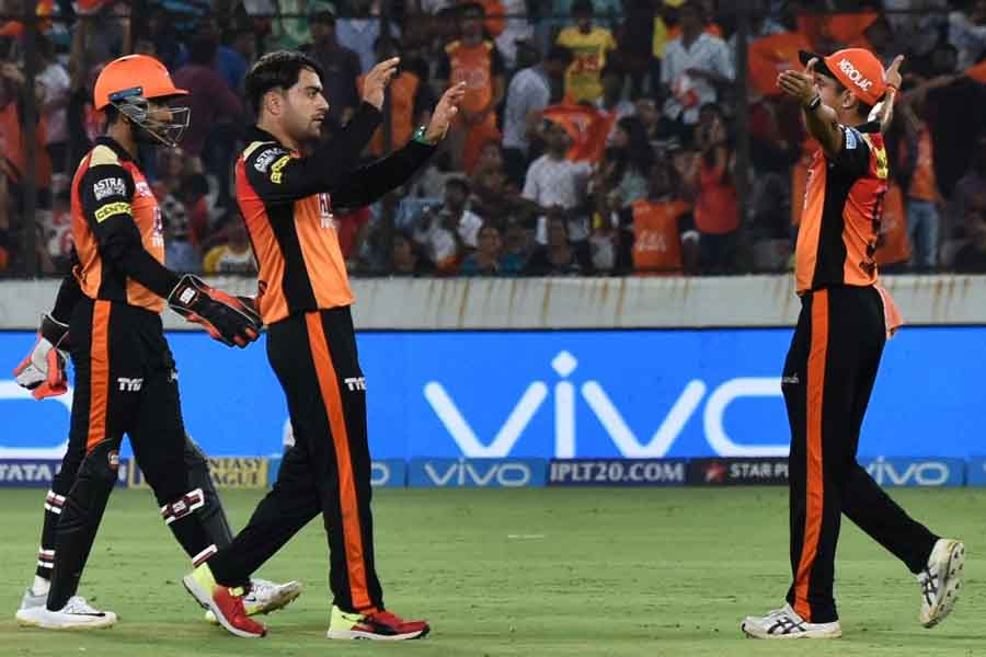 Sunrisers Hyderabads Rashid Khan Celebrates Fall Of A Wicket During An IPL 2018 Images in Hindi