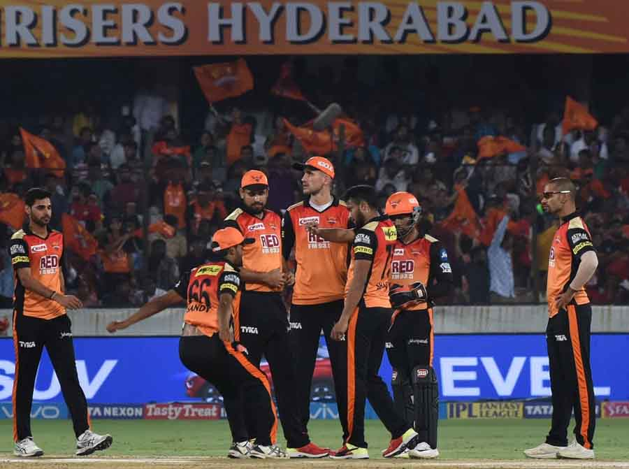 Sunrisers Hyderabads Shakib Al Hasan Celebrates Fall Of Parthiv Patels Wicket During An IPL 2018 Ima
