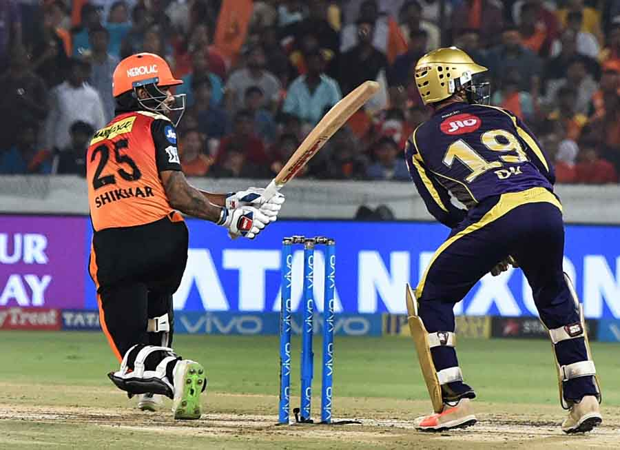 Sunrisers Hyderabads Shikhar Dhawan In Action During An IPL 2018 Match Images