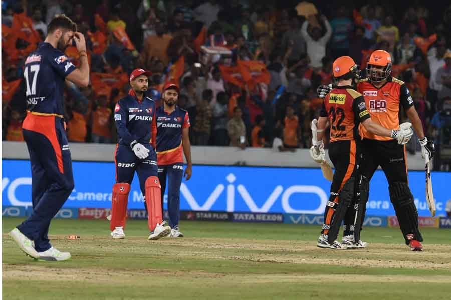 Sunrisers Hyderabads Yusuf Pathan And Kane Williamson Celebrate After Winning An IPL 2018 Match Agai