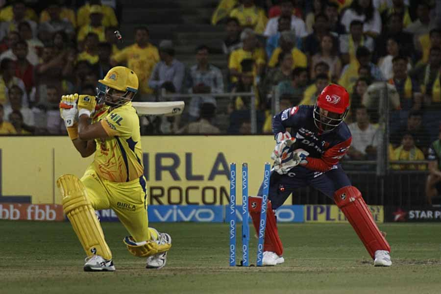 Suresh Raina Of Chennai Super Kings Gets Dismissed During An IPL 2018 Images in Hindi
