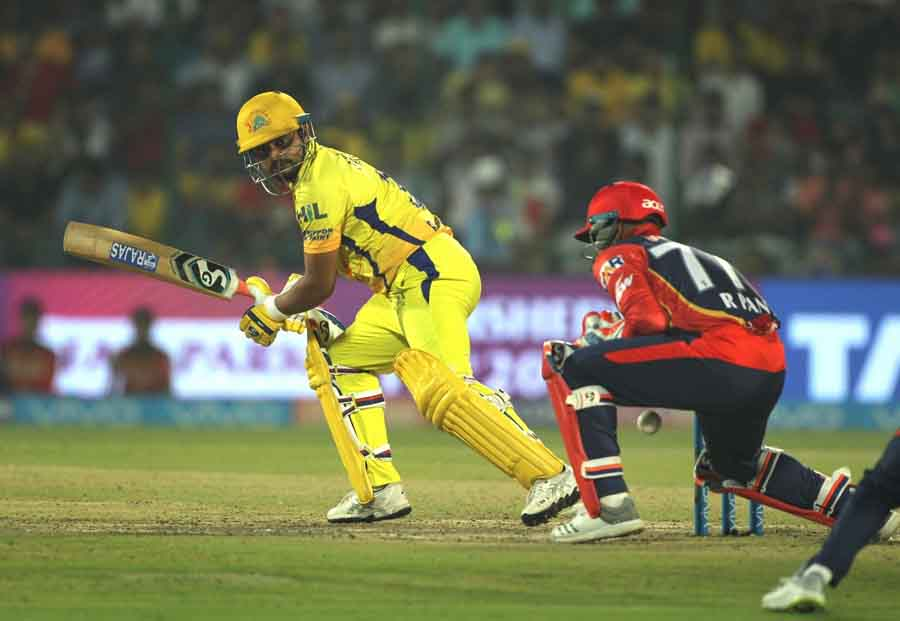 Suresh Raina Of Chennai Super Kings In Action During An IPL 2018 Match Between Chennai Super Kings A