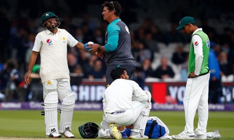 Babar Azam out of England test series with fractured arm