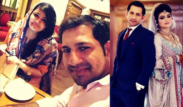 Sarfraz Ahmed With His Wife Syeda Khusbaht Images in Hindi