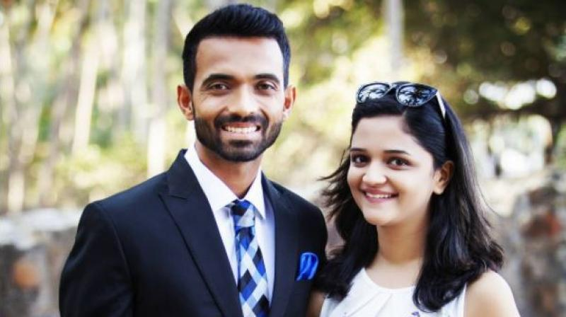 Ajinkya Rahane With His Wife Radhika Dhopavkar फोटो
