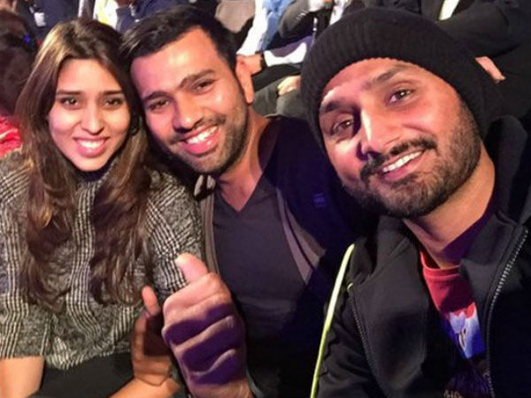 Harbhajan Singh With Rohit Sharma And His Wife Images in Hindi