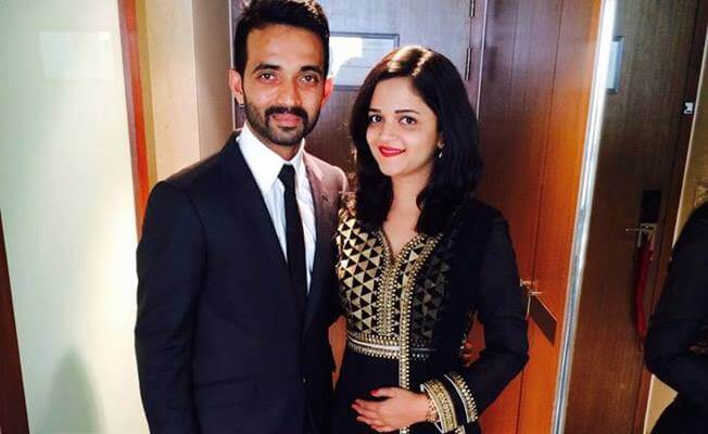 Rahane With His Wife Radhika Images in Hindi