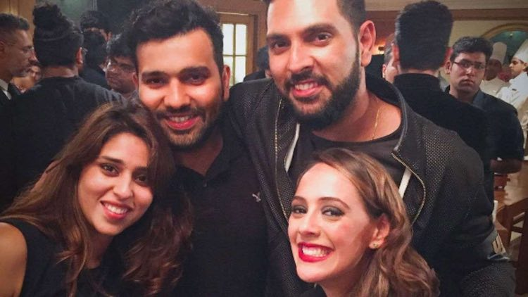 Rohit Sharma  Yuvraj Singh With Their Better Halves Images