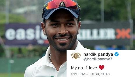हार्दिक पांड्या ने अपने प्यार का किया खुलासा, ट्विटर पर की साथ में फोटो पोस्ट Images