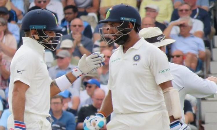 कोहली और पुजारा ने जमा दिया अर्धशतक,  भारतीय टीम को 362 रन की बढ़त Images