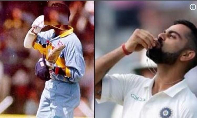 शतक जमाने के बाद जश्न मनानें के क्रम में कोहली ने इस पूर्व क्रिकेटर की करी नकल Images