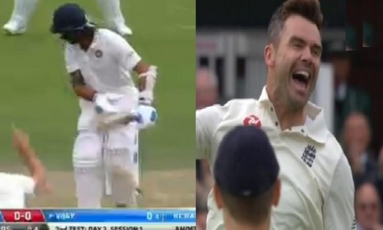 देखिए कैसे मुरली विजय इंग्लैंड तेज गेंदबाज जेम्स एंडरसन की स्विंग गेंद पर क्लीन बोल्ड हुए VIDEO Imag