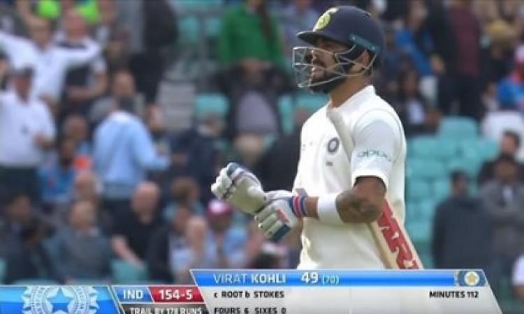 WATCH फिर से कोहली फंस गए ऐसी गेंद पर,  स्लिप में कैच आउट होने के बाद अपनी गलती पर इस तरह से किया रि