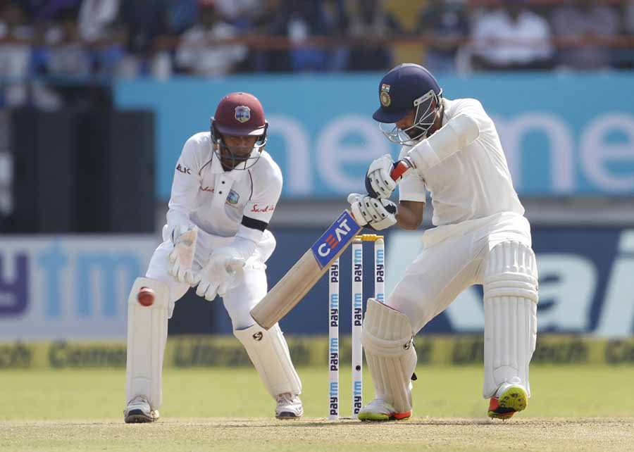 Indias Ajinkya Rahane In Action During The 1st Test Match Between India And West Indies Images