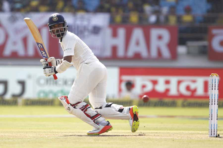 Rajkot Indias Ajinkya Rahane In Action During The 1st Test Match Between India And West Indies Image