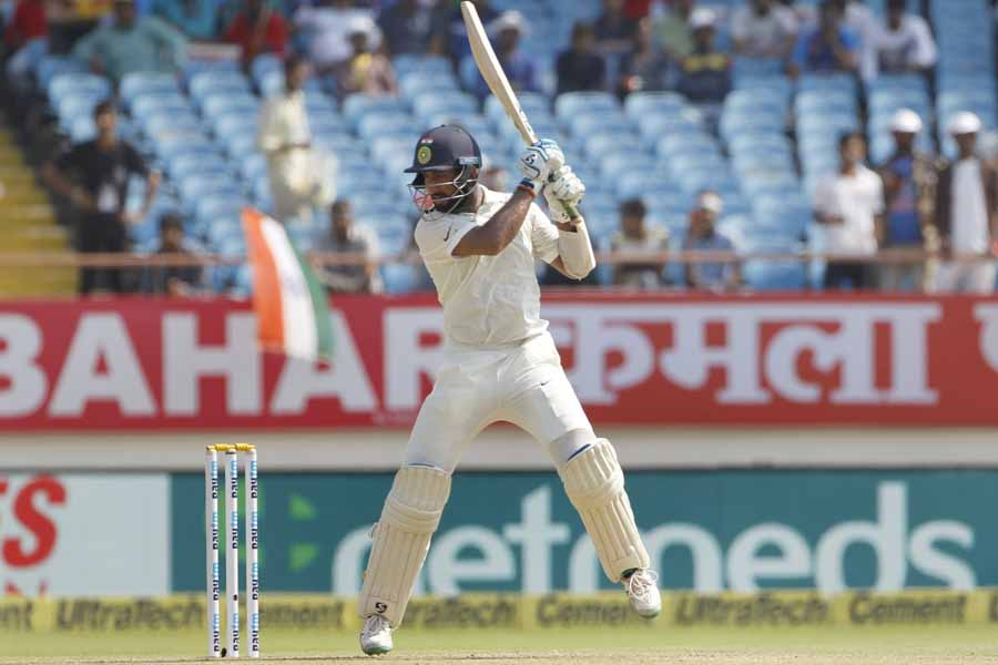 Rajkot Indias Cheteshwar Pujara In Action During The 1st Test Match Between India And West Indies Im