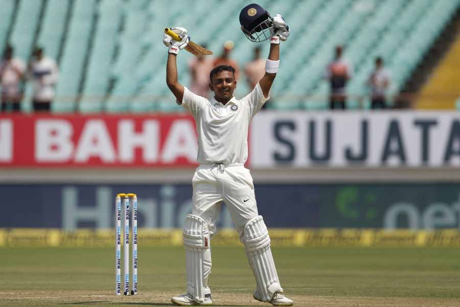 Rajkot Indias Prithvi Shaw Celebrates His Century During The 1st Test Match Between India And West I