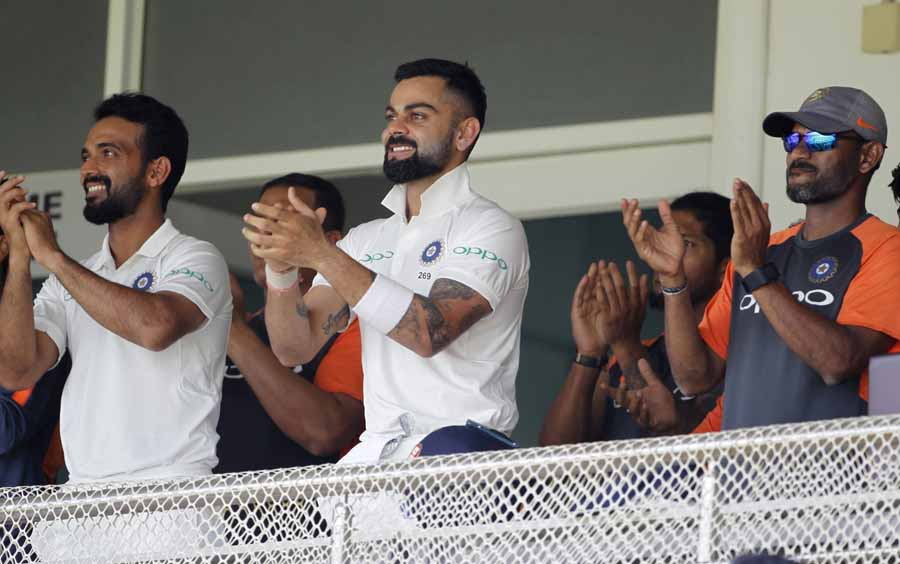 Rajkot Indias Virat Kohli And Ajinkya Rahane Cheer For Prithvi Shaw After He Scored A Century During