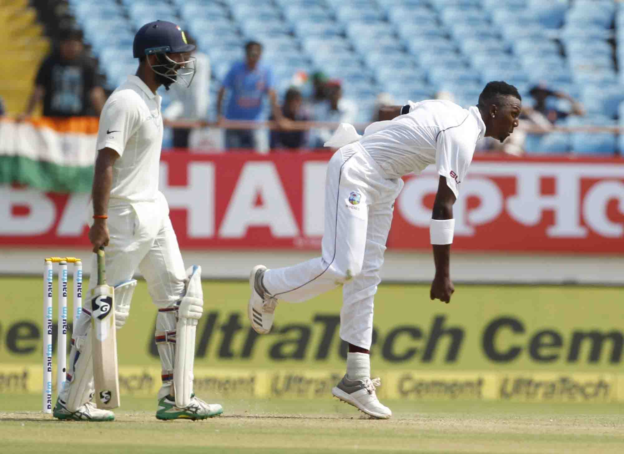 Rajkot Sherman Lewis Of West Indies In Action During The 1st Test Match Between India And West Indie