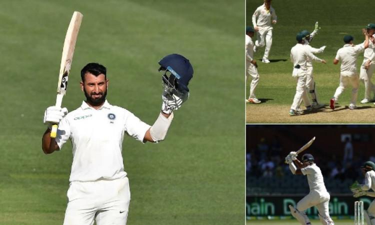 पुजारा ने शतकीय पारी खेल भारतीय पारी को संभाला, पहले दिन के खेल खत्म होने पर भारत ने बनाए 9 विकेट पर