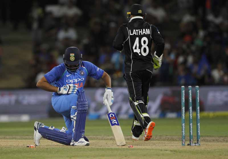Rohit Sharma And Tom Latham During The 3rd ODI Match Between India And New Zealand Images