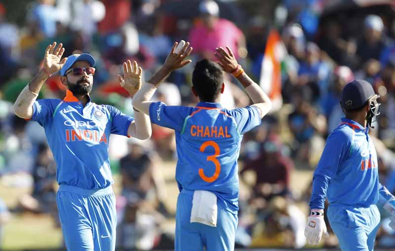 Yuzvendra Chahal Celebrate Wicket Of Tom Latham During The 3rd ODI New Zealand Vs INDIA Images