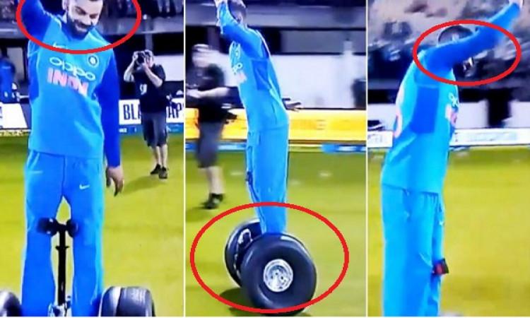 WATCH मैच खत्म होते ही विराट ने कैमरा मैन से छिना 'सेगवे' और लेने लगे सेगवे राइड का मजा Images