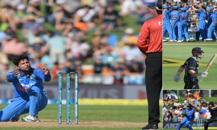 कुलदीप यादव, मोहम्मद शमी और चहल की घातक गेंदबाजी, न्यूजीलैंड 157 रन पर आउट Images
